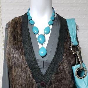 Vintage NRT Turquoise color drop pendant necklace